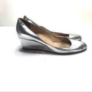 Christian louboutin silver wedge heels 39